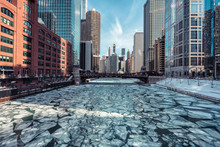 Ice On Chicago River During Wi...