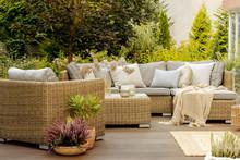 Wicker Furniture On Terrace