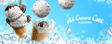 Chocolate Vanilla Ice Cream Cone