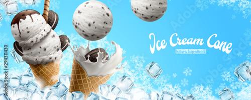Photo Chocolate vanilla ice cream cone