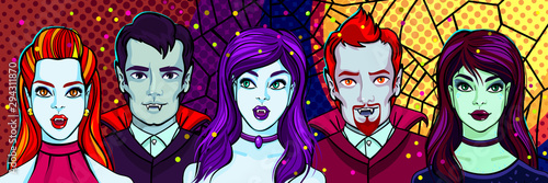 Halloween illustration. Vampires and witch. Vector illustration Wallpaper Mural