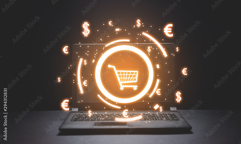 Fototapeta Shopping cart and currency symbols. Online Shopping