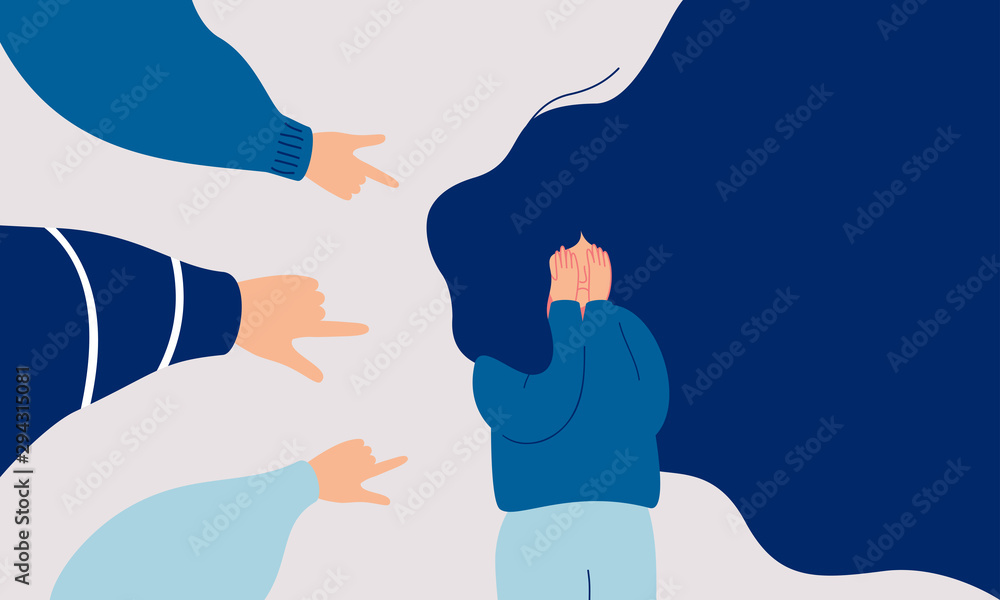 Fototapeta Children engage in bullying behavior towards a school girl. Depressed girl cries and covers her face with her hands. Female surrounded by the hands of her peers pointing at her. Human character vector