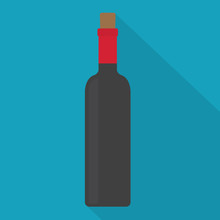 Bottle Of Red Wine Icon- Vector Illustration