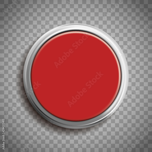Cuadros en Lienzo Red button template isolated on transparent background