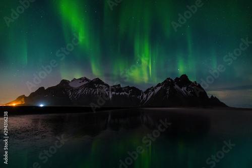 Northern lights at Vestrahorn Mountain and Stokksnes beach Canvas Print