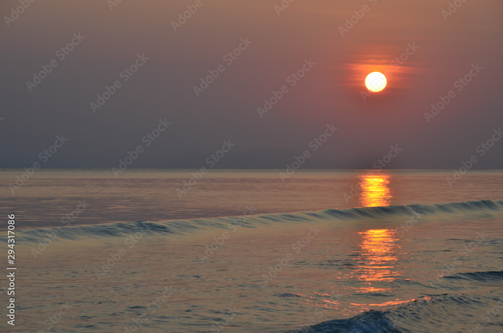 Sunset over the sea in India