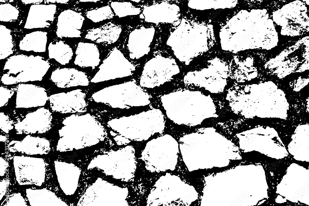 Fototapety, obrazy: Stones wall background. Black and white texture. Vector illustration