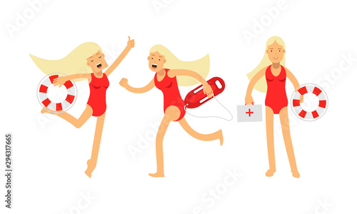 Photo Set Of Vector Illustrations With Three Young Attractive Women Baywatchers