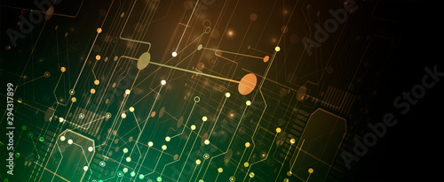 Foto op Aluminium Hoogte schaal abstract structure circuit computer technology business background