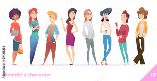 Fototapety, obrazy: Women character design collection. Modern cartoon flat style. Females stand together. Young females in different poses.