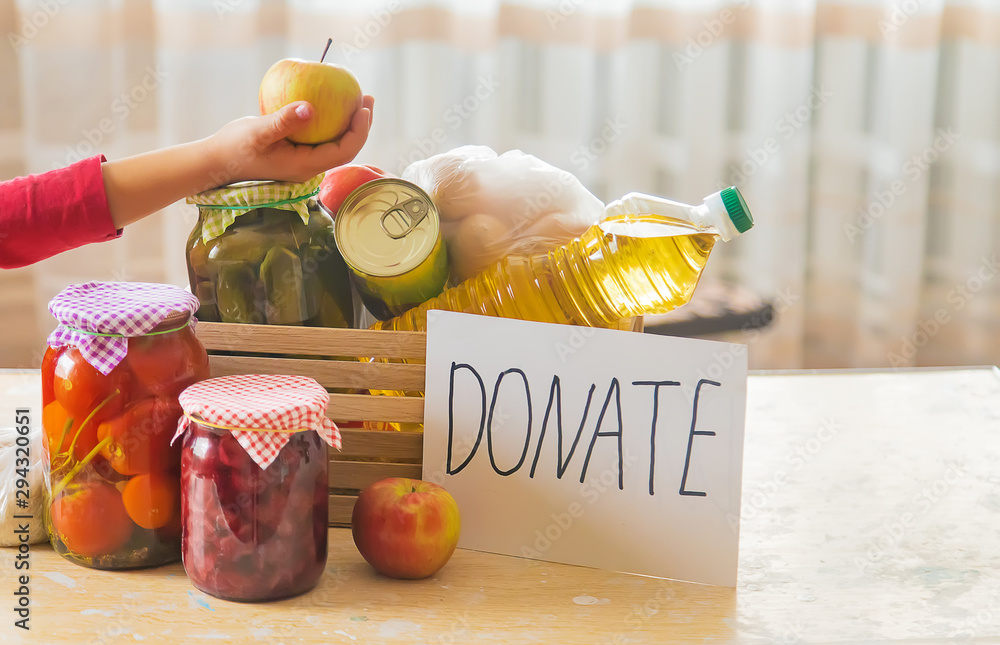 Fototapety, obrazy: Food and plate with text for donation. Selective focus.