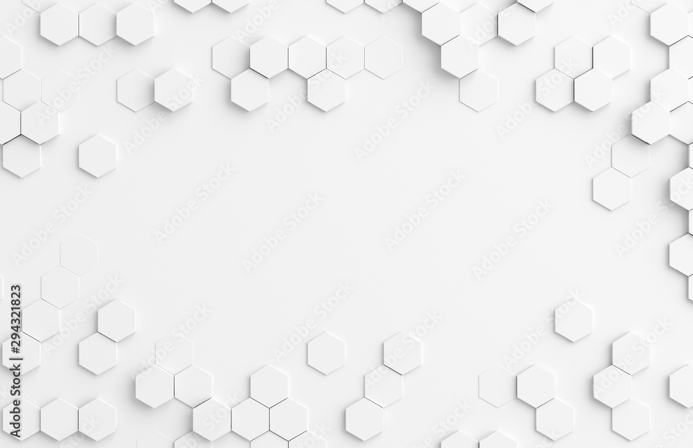 White hexagone background pattern 3D rendering