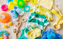 Baby Clothes And Accessories For The Newborn. Selective Focus.