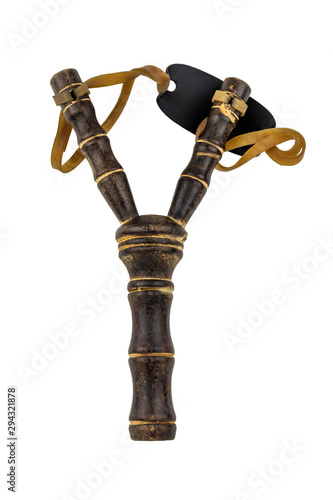 Fotografie, Tablou  wooden slingshot closeup isolated on white without shadow