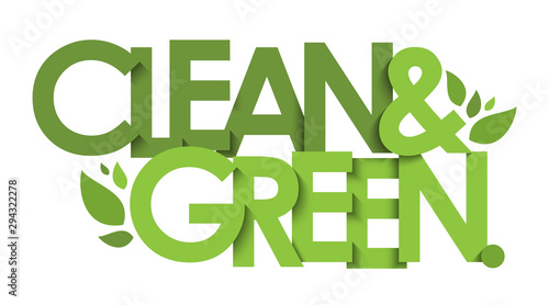 Fotografía  CLEAN & GREEN green vector typography with leaves