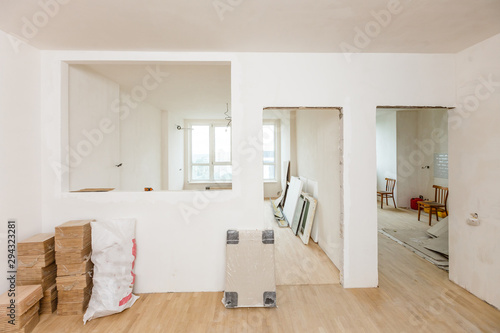 Fotografie, Obraz parquet installation, empty room