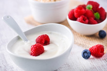 Fresh White Yoghurt With Raw F...