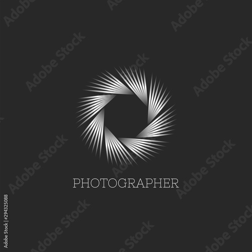 Fototapeta Photo studio or photographer logo abstract endless aperture symbol of the camera lens, linear design of thin lines modern metal gradient obraz