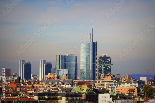 Photo Milan skyline with modern skyscrapers in Porto Nuovo business district, Italy