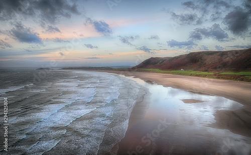 Foto auf Gartenposter Dunkelgrau Evening at Rhossili Bay on the Gower peninsula, Swansea, South Wales, UK