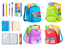 School Objects, Paints With Tassel, Colorful Pencils, Notebook And Pen In Backpack. Educational Equipment, Textbook And Writing Accessory, Education. Back To School Concept. Flat Cartoon Isometric 3d