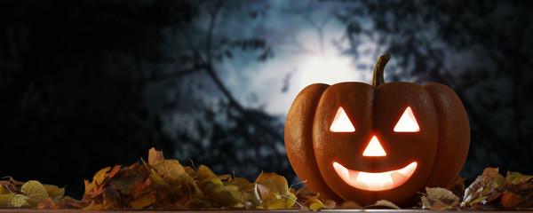 View of a Halloween night scene with lantern in pumpkin - 3d rendering