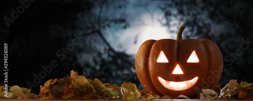 Photo View of a Halloween night scene with lantern in pumpkin - 3d rendering