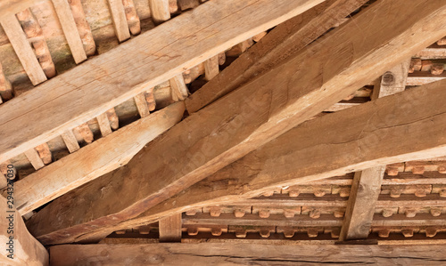 Wood roof ceiling structure detailed Wallpaper Mural