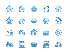 Houses Flat Line Icons Set. Ho...