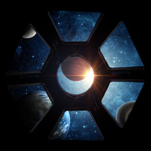 Earth And Galaxy In Spaceship International Space Station Window Porthole. Elements Of This Image Furnished By NASA.