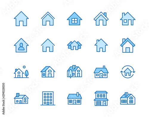 Fototapeta Houses flat line icons set. Home page button, residential building, country cottage, apartment vector illustrations. Outline simple signs for real estate. Pixel perfect 64x64. Editable Strokes obraz
