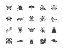 Insect Flat Glyph Icons Set. B...
