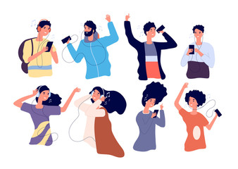 People listen music with earphones. Happy young men and women with headphones and smartphone isolated vector cartoon characters. Woman and man dancing listening music in headphones illustration