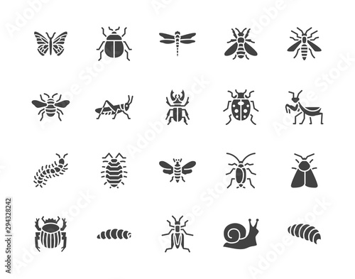 Photographie Insect flat glyph icons set