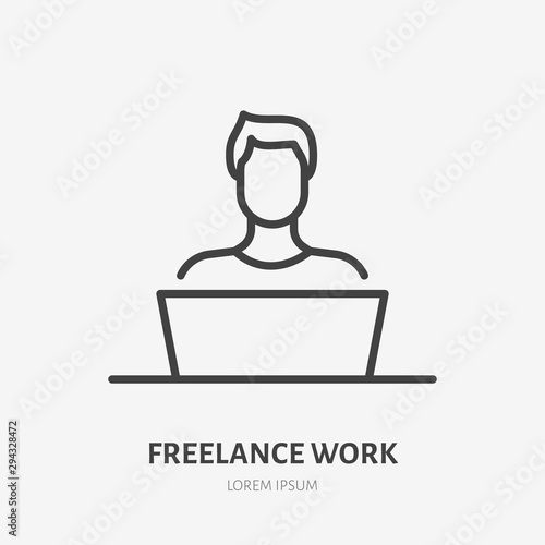 Obraz Man with laptop flat line icon. Vector thin sign of freelance work at home, designer logo. Young person in workplace outline illustration - fototapety do salonu