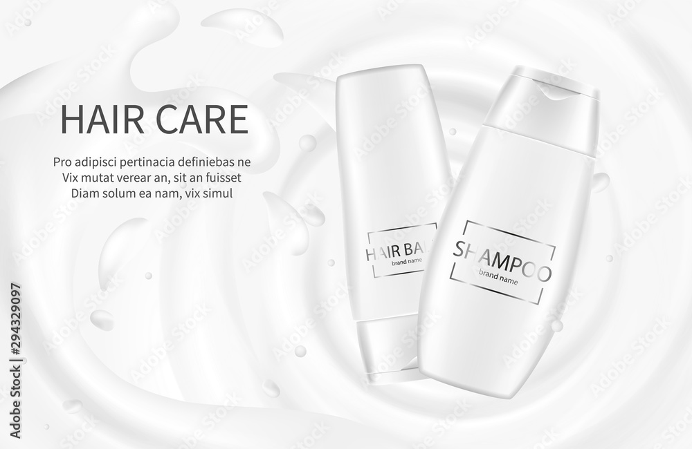 Fototapeta Hair cosmetics banner. Shampoo advertising poster. Vector cream balm lotion with milk splash. Cosmetic package mockup shampoo for care hair, template poster illustration