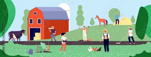 Farmer life. Agricultural workers work with equipment in nature, agriculture and organic farming flat vector illustration. Agriculture worker and farmer work on farm