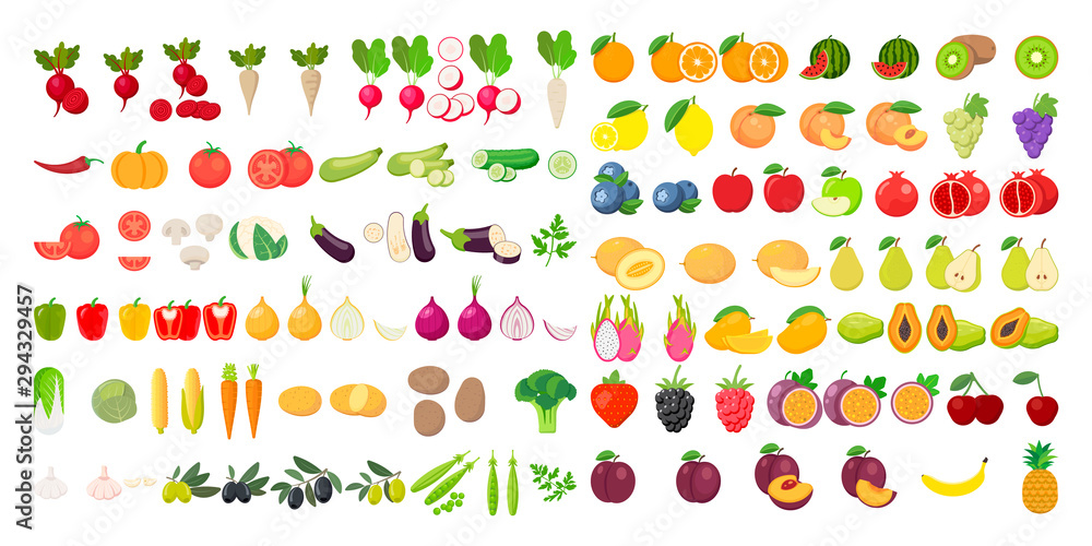 Fototapeta Vector fruits and vegetables icon set isolated on white background. Vector illustration.