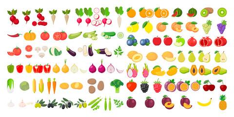 Vektor ikona voća i povrća postavljen na bijeloj pozadini. Vektorska ilustracija.