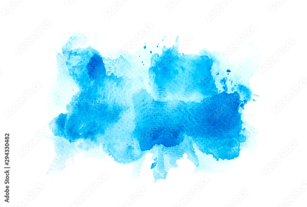 Fototapeta brush blue abstract watercolor background on paper.