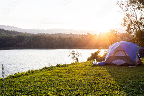 Morning Landscape for camping tent in a forest camp near the lake
