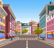 Town with buildings and empty street, 3d look of city road and houses appartment. Bushes and trees, greenery cityscape. Skyline, crossroad with zebra. End of the street. Vector in flat cartoon style