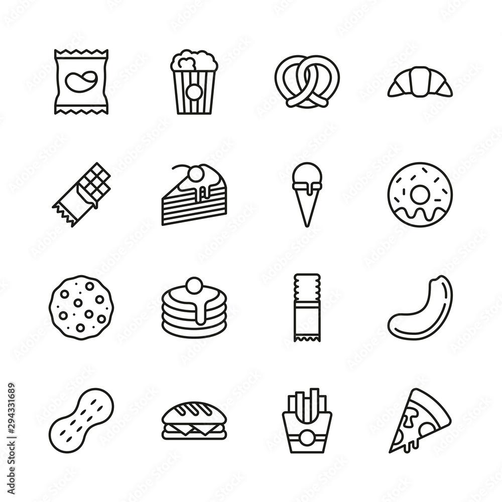 Fényképezés Snack Or Junk Food Icons Thin Line Set