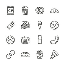 Snack Or Junk Food Icons Thin ...