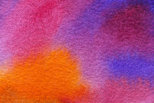 Abstract Art Background Light Purple And Blue Colors. Watercolor Painting On Canvas.