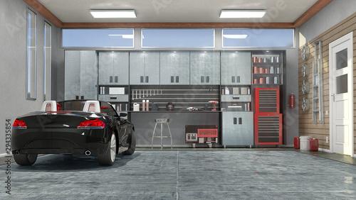 Modern garage interior. 3d illustration Wallpaper Mural