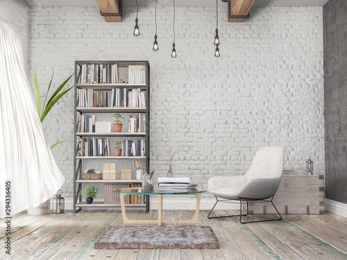 Photo Reading room, old wall, wooden floor, books