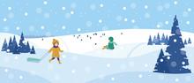 Beautiful Snowy Landscape. Winter Scene With Playing Children. Winter Fun, Sledding, Walk. Vector Illustration