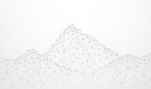 Abstract Plexus Technology Futuristic Network. Mountain Shape Design On Gray Background. Vector Illustration